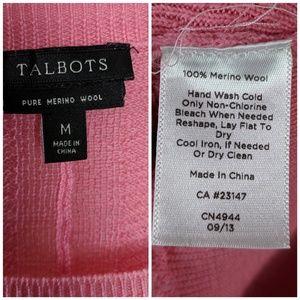 Talbots Sweaters - Talbots 100% Merino Wool Pink Waffle Knit Sweater